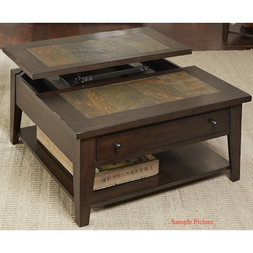 Liberty Furniture Hearthstone Lift Top Cocktail Table with Single Drawer and Shelf