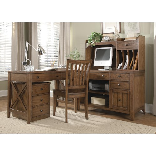 Liberty Furniture Hearthstone 5 Piece L-Shaped Desk and File Cabinet Unit