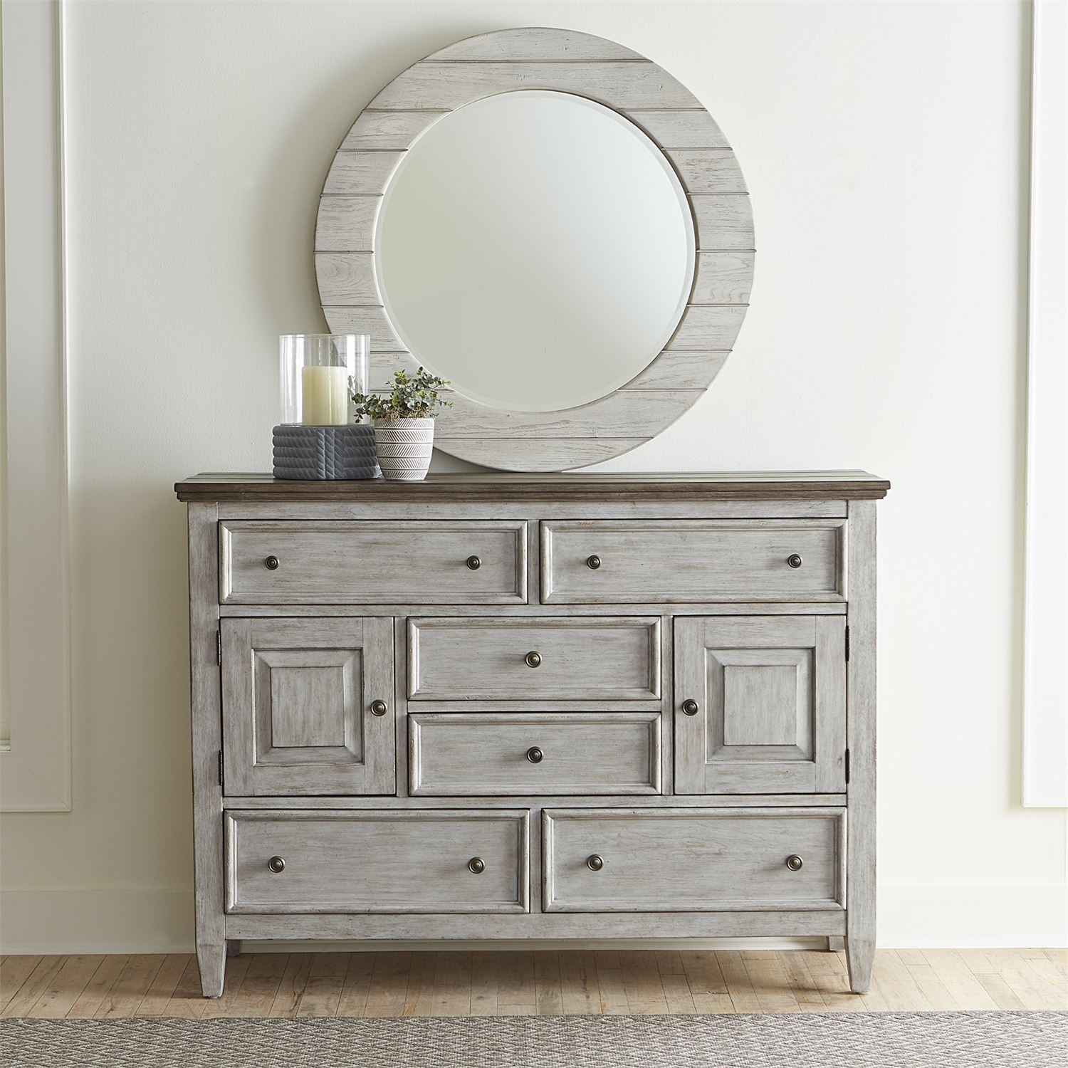 Transitional Two-Toned Dresser and Mirror Set