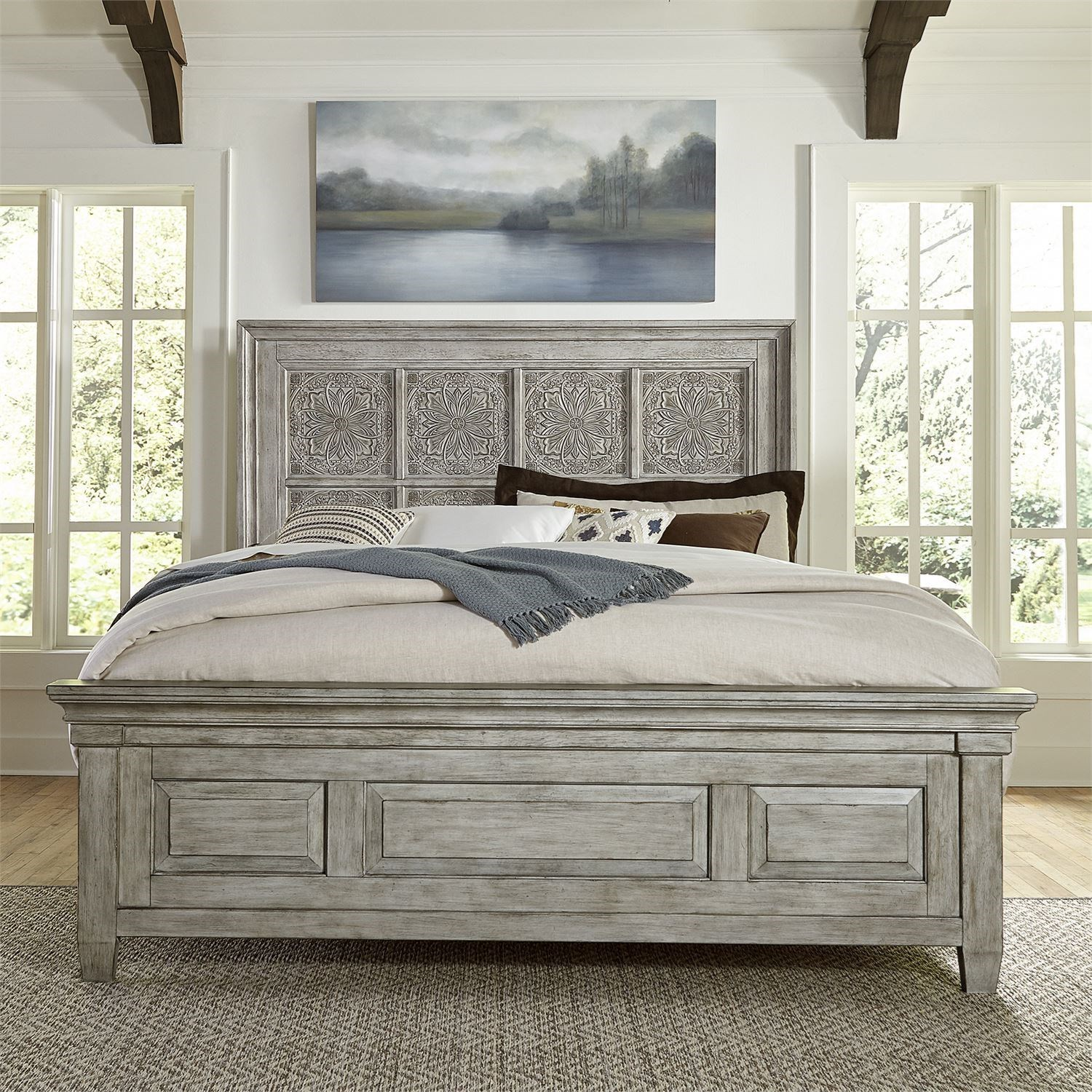 Transitional King Panel Bed with Decorative Headboard