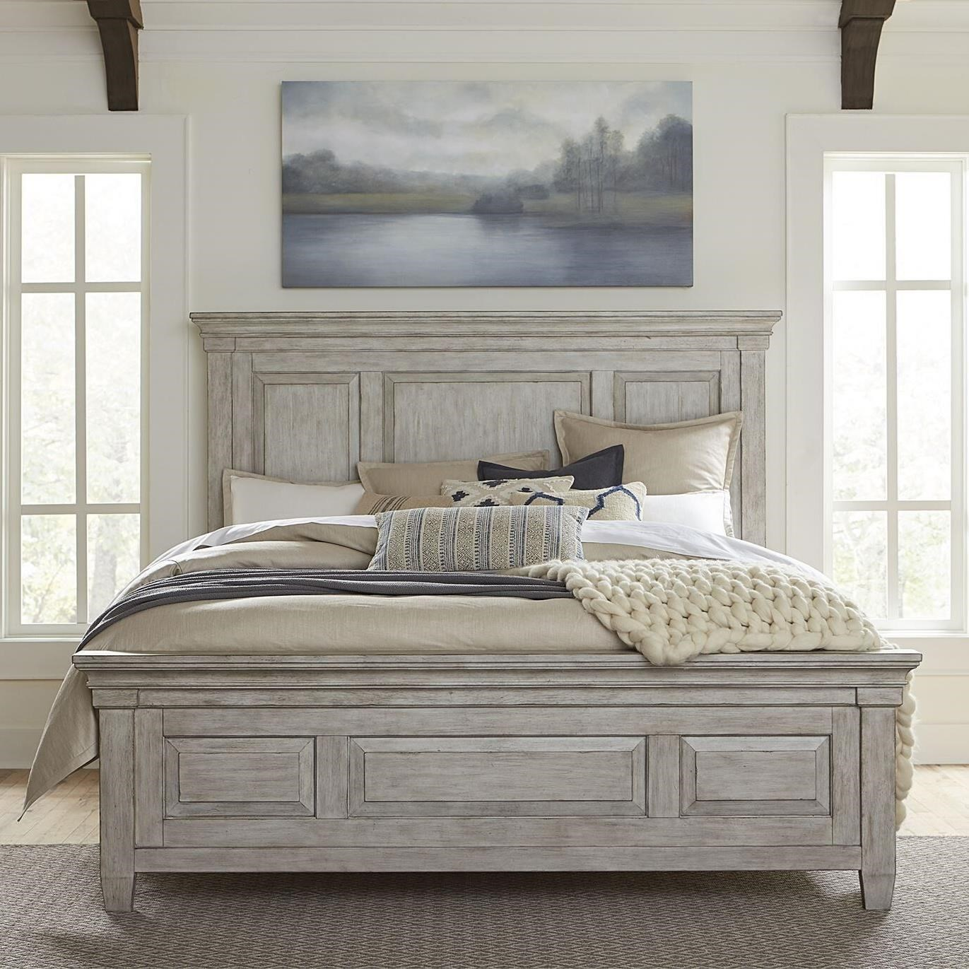 Transitional King Panel Bed with Decorative Molding