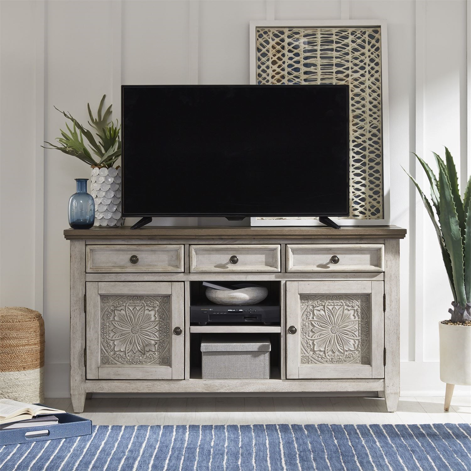Transitional 56 Inch Tile TV Console
