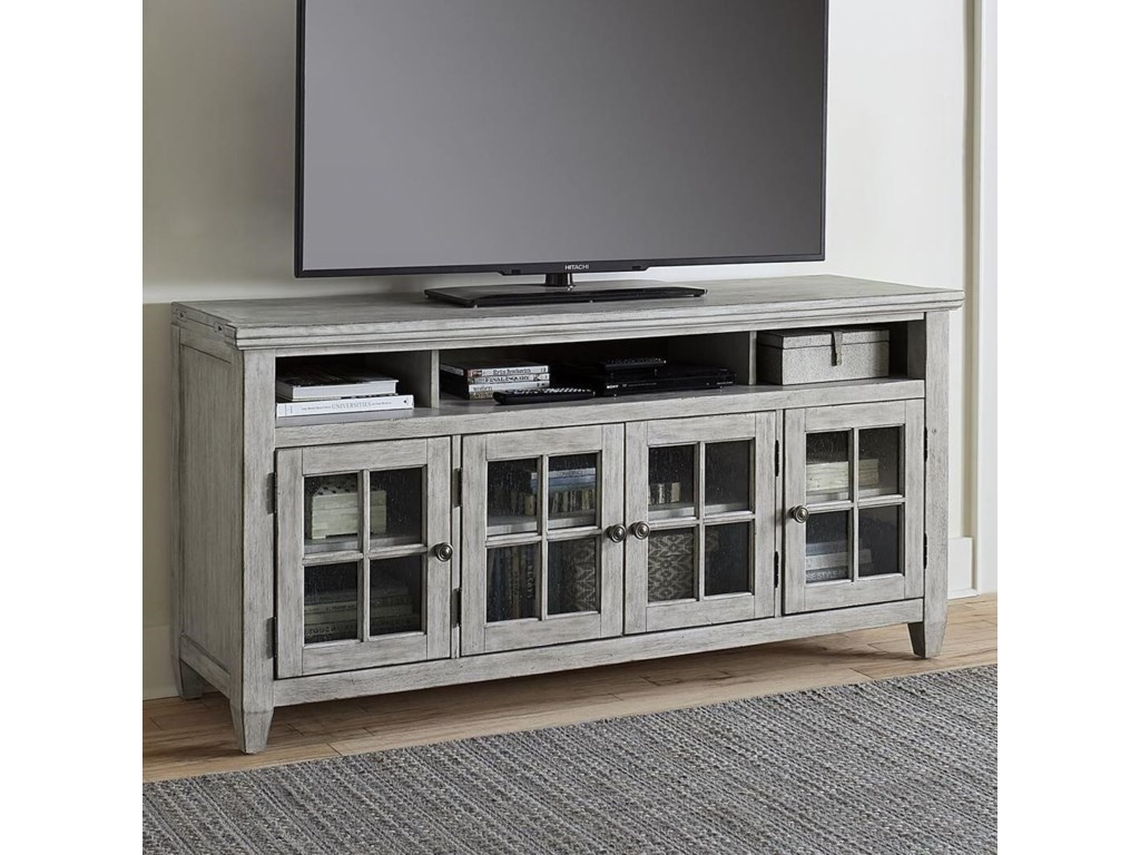 Liberty Furniture Heartland Transitional Entertainment Tv Stand With Gl Doors