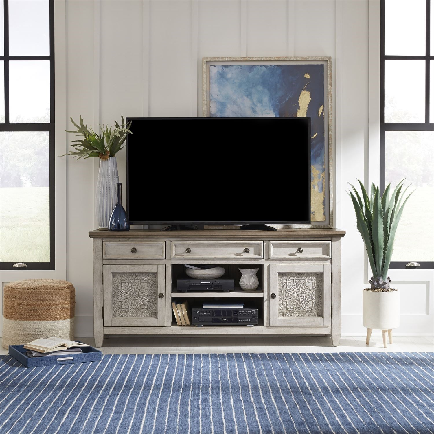 Transitional 66 Inch Tile TV Console