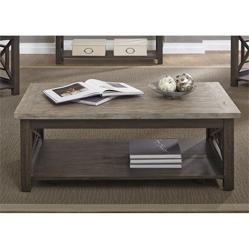 Liberty Furniture Heatherbrook Occasional Cocktail Table with Bottom Shelf