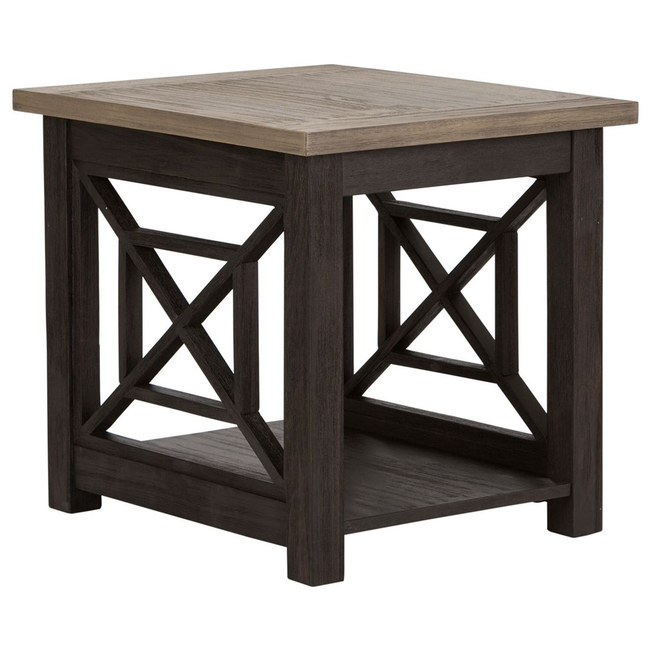 Transitional End Table with Bottom Shelf