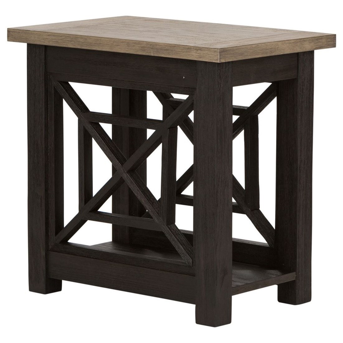 Transitional Chair Side Table with Bottom Shelf