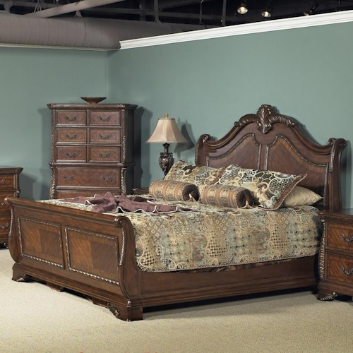 Liberty Furniture Highland Court Queen Sleigh Bed with Arched Headboard