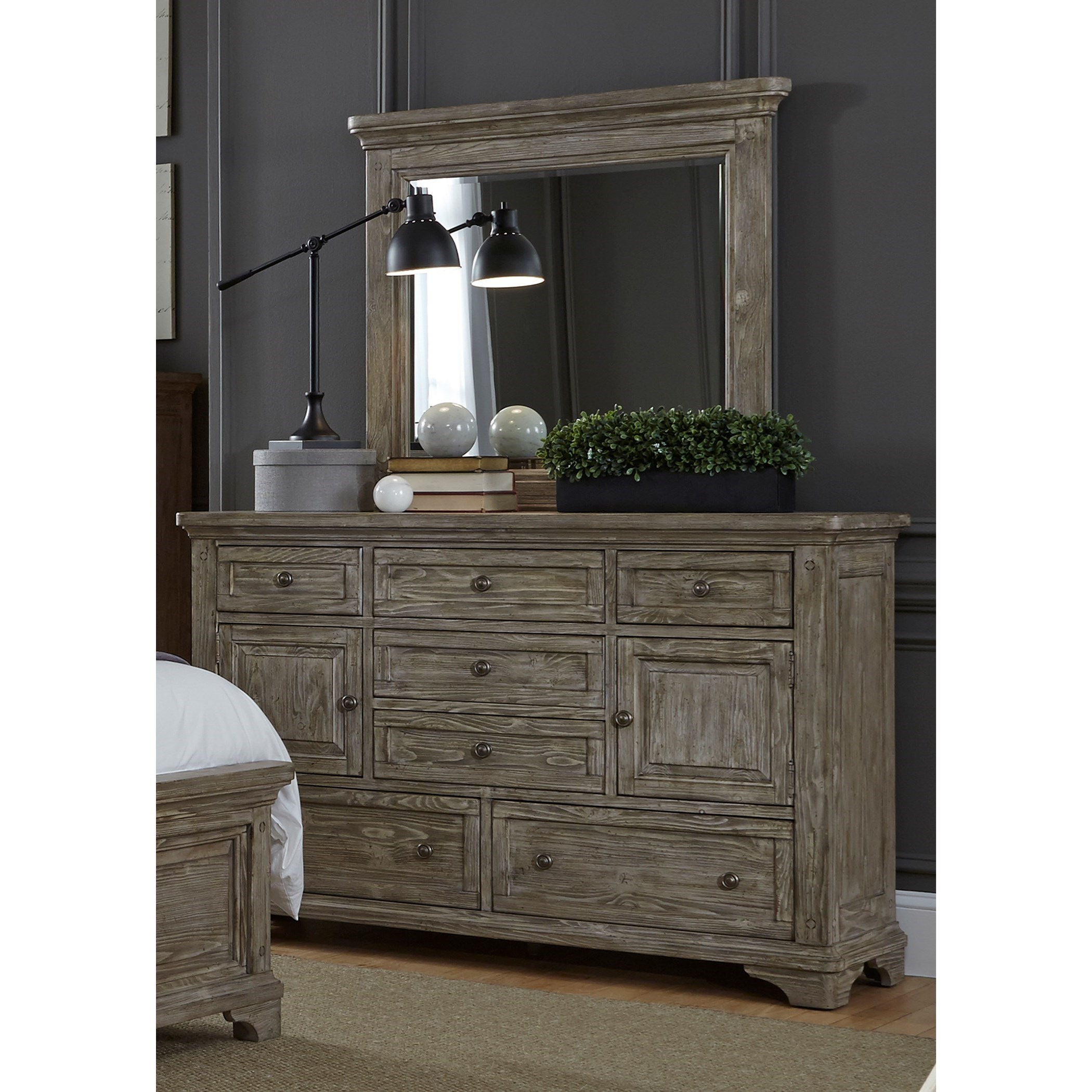 Liberty Furniture Highlands 7 Drawer Dresser U0026 Mirror With Wood Frame