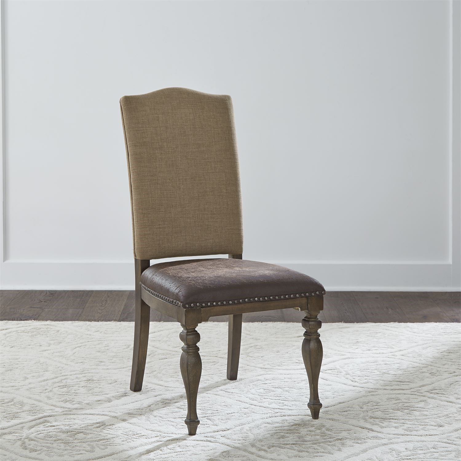 Relaxed Vintage Upholstered Side Chair with Nailhead Trim