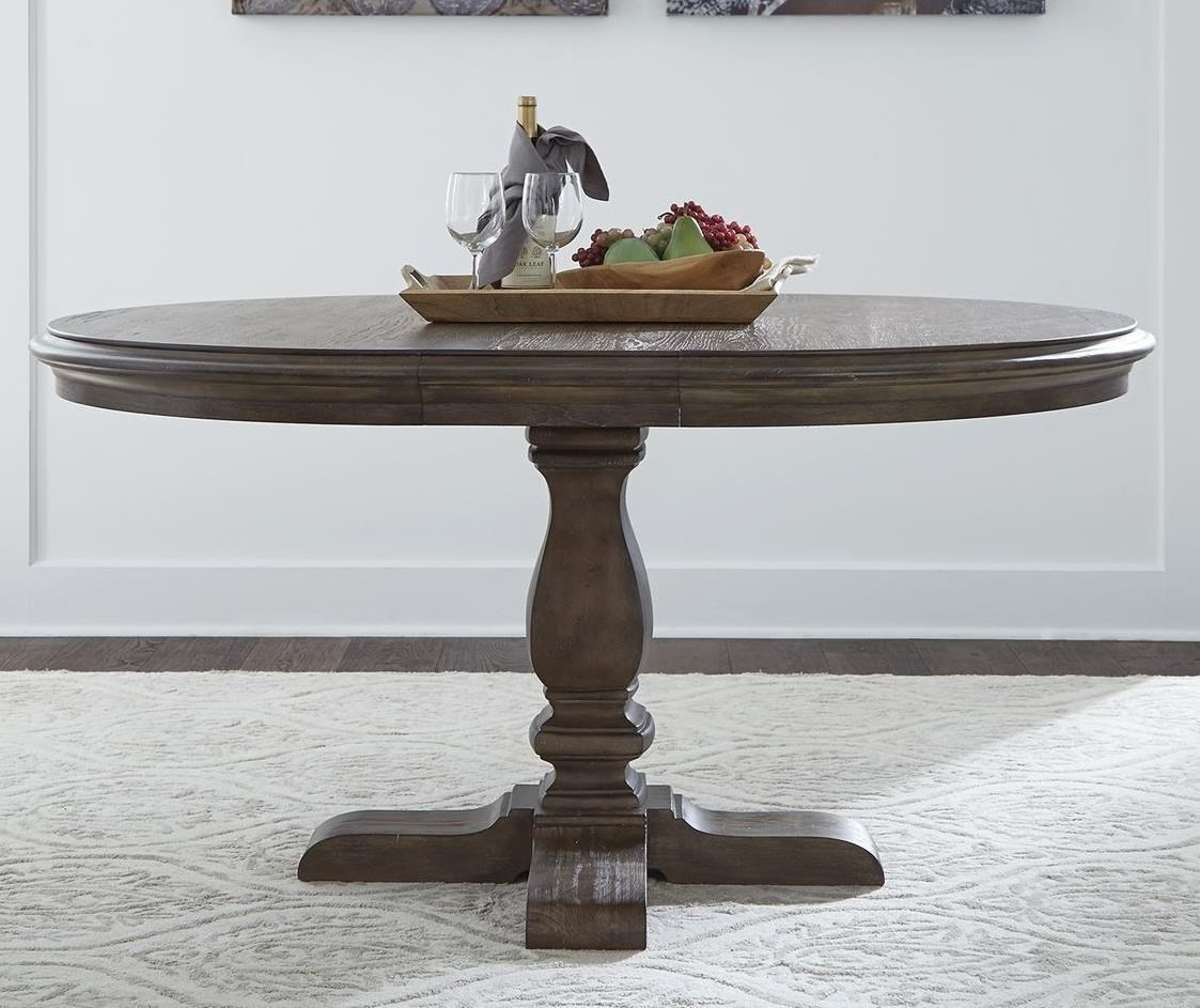 Relaxed Vintage Pedestal Dining Table with Removable Leaf