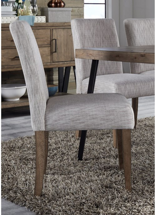 Liberty Furniture Horizons Contemporary Upholstered Dining Side Chair with Cream Linen Fabric