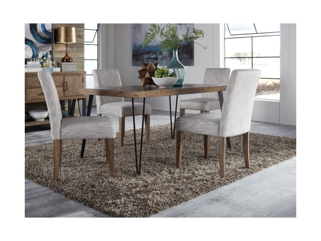 Liberty furniture horizons contemporary dining table and upholstered chair set with herringbone parquet pattern