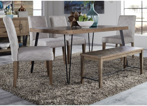Liberty Furniture Horizons Contemporary Table and Upholstered Chair Set with Bench and Herringbone Parquet Pattern