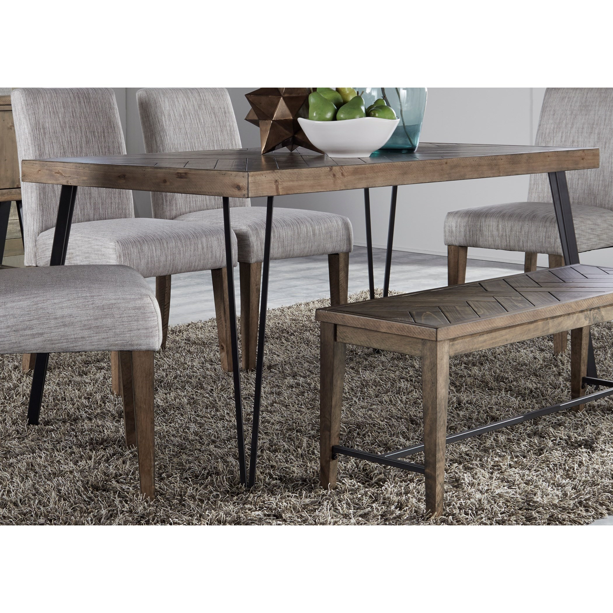 Liberty Furniture Horizons Contemporary Rectangular Leg Dining Table With Angled Metal Tube Legs Royal Furniture Dining Tables