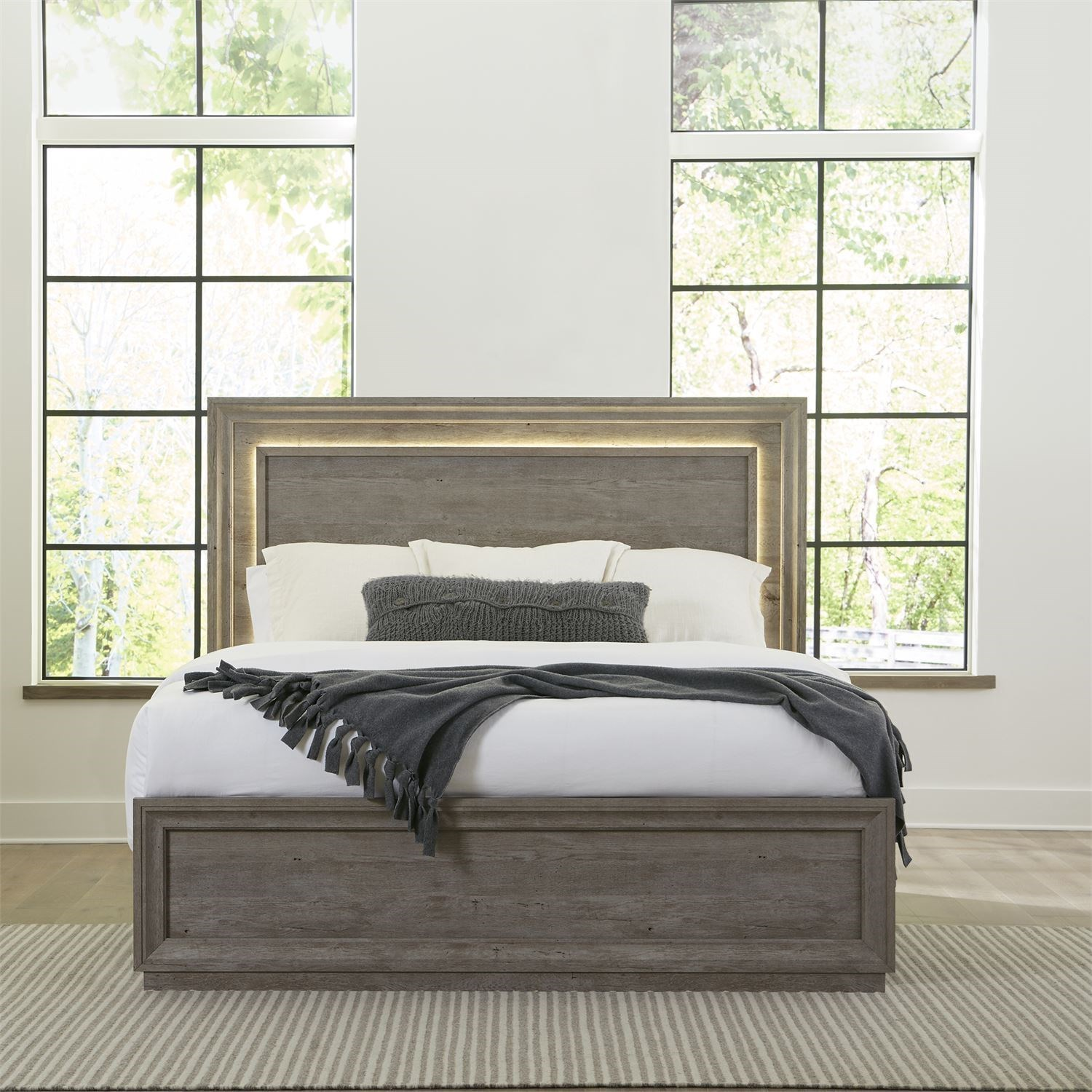 Contemporary Queen Panel Bed with LED Headboard