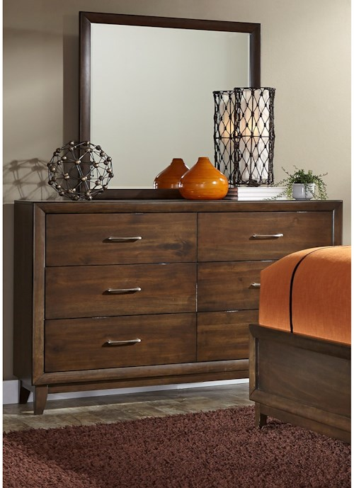 Liberty Furniture Hudson Square Bedroom 6 Drawer Dresser & Mirror with Wood Frame