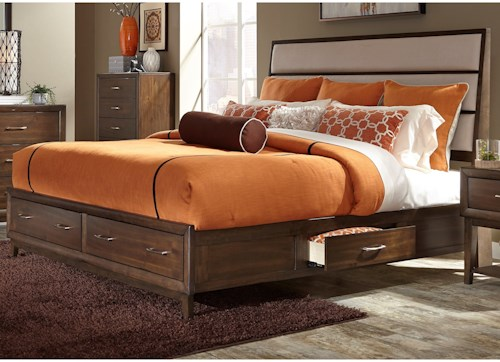 Liberty Furniture Hudson Square Bedroom King Two Sided Storage Bed with Upholstered Headboard