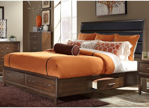 Liberty Furniture Hudson Square Bedroom King Storage Bed with Upholstered Headboard