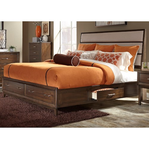Liberty Furniture Hudson Square Bedroom Queen Two Sided Storage Bed with Upholstered Headboard