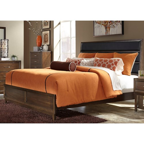 Liberty Furniture Hudson Square Bedroom Queen Low Profile Bed with Upholstered Headboard
