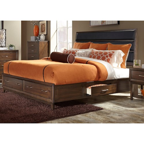 Liberty Furniture Hudson Square Bedroom Queen Storage Bed with Upholstered Headboard