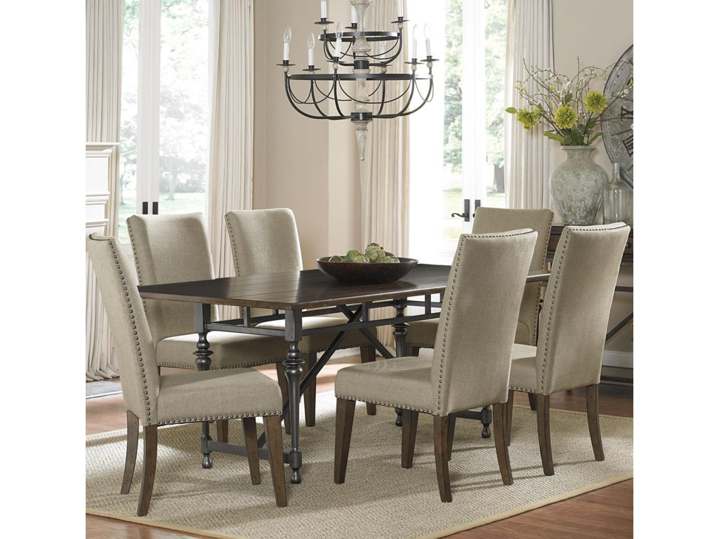 Leg Table Shown with Upholstered Side Chairs