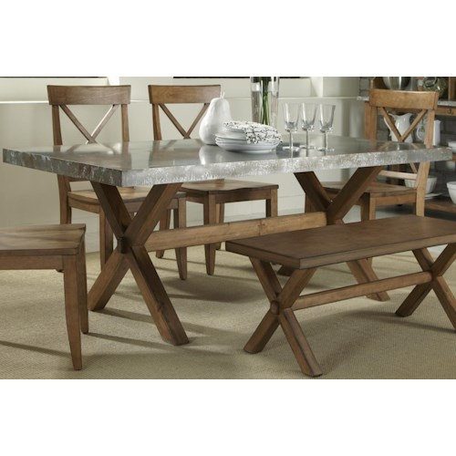 Keaton Rectangle Trestle Dining Table With Metal Top Rotmans - Trestle dining room table