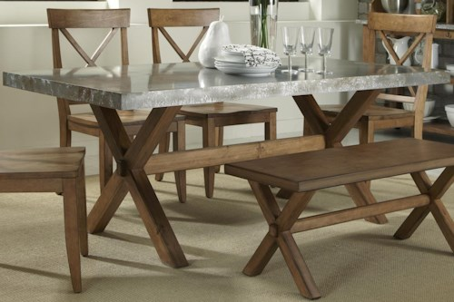 Keaton Rectangle Trestle Dining Table with Metal Top   Rotmans ...
