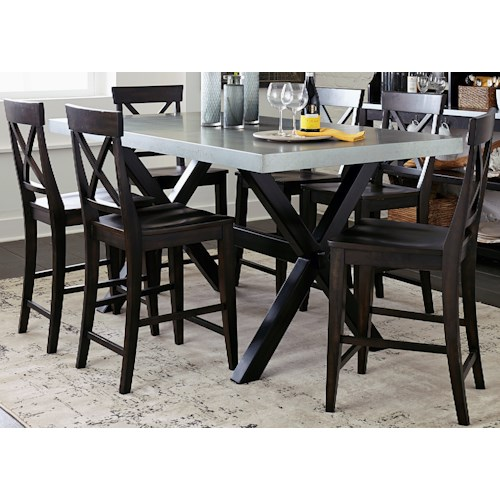 Liberty Furniture Keaton II 7 Piece Gathering Table Set with X-Back Side Chairs