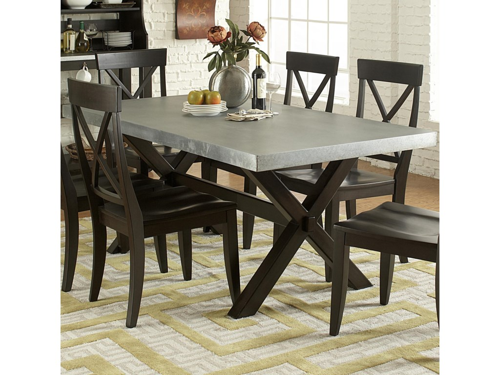 Keaton Ii Rectangle Trestle Dining Table With Metal Top By Liberty Furniture At Johnny Janosik