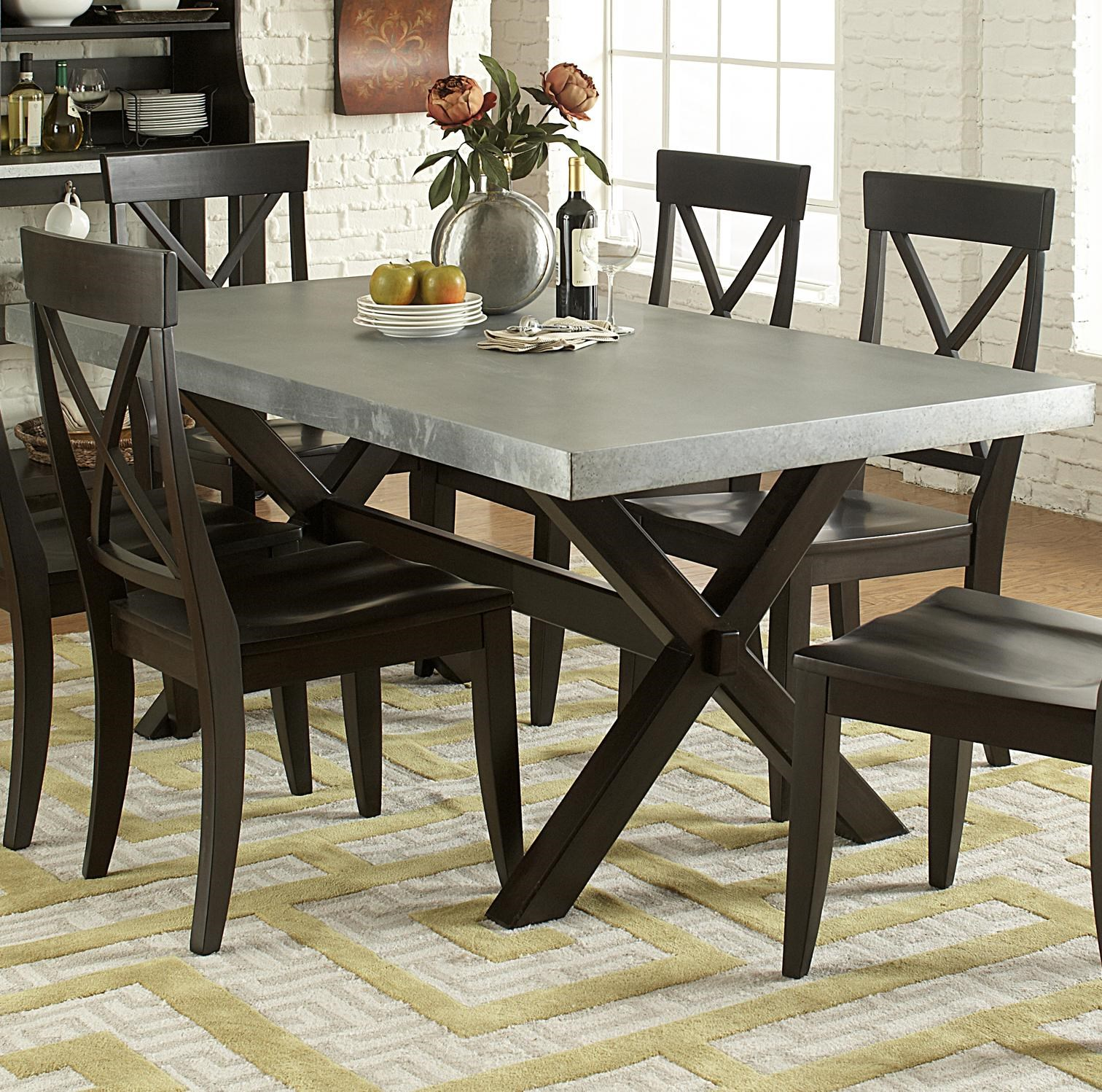 Keaton II Rectangle Trestle Dining Table With Metal Top By Vendor 5349