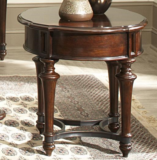 Kingston Plantation Round End Table With Metal Stretcher