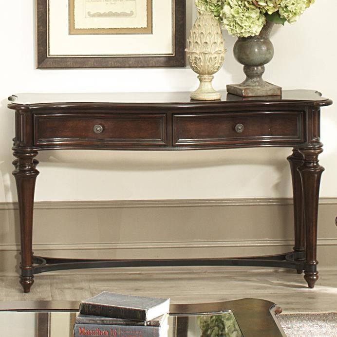 Kingston Plantation Sofa Table With Two Drawers And Metal Stretcher By  Liberty Furniture At Rotmans