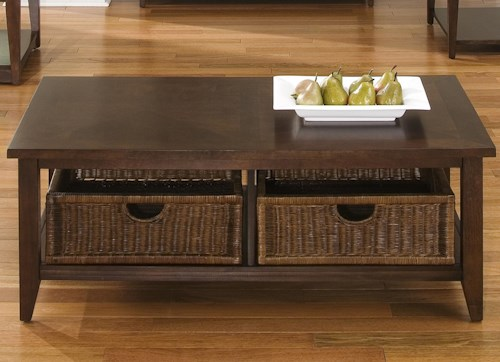 Liberty Furniture Lakewood Coffee Table w/ 2 Basket Drawers
