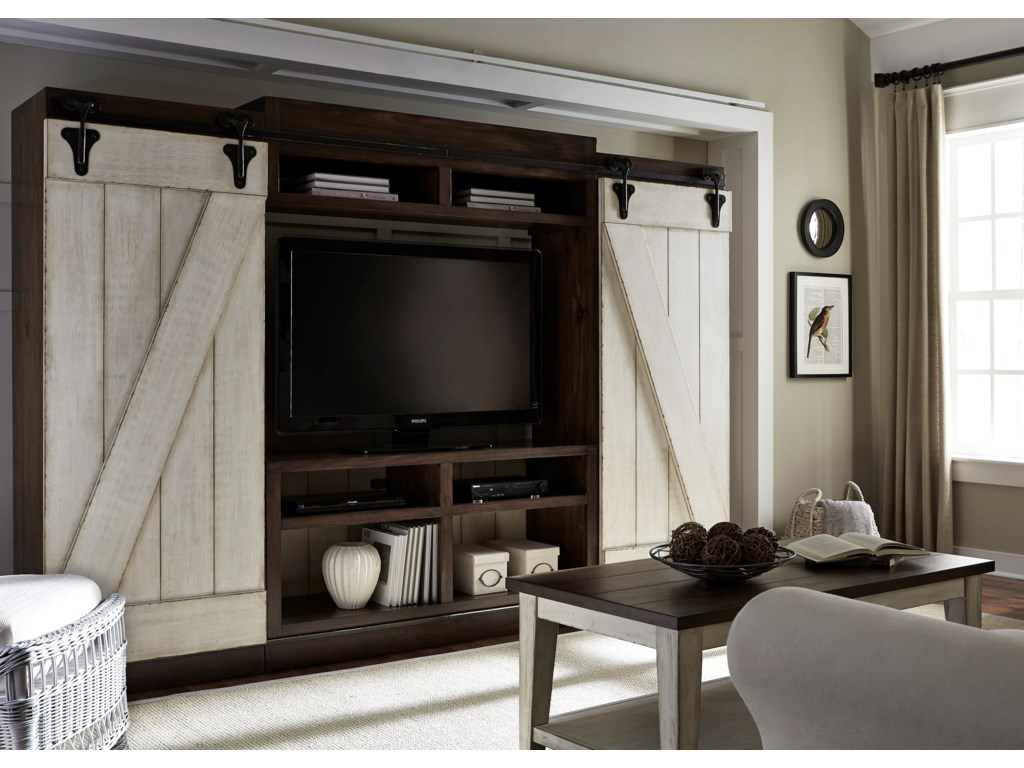Lancaster rustic entertainment center with sliding barn doors by liberty furniture