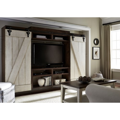 liberty furniture lancaster rustic entertainment center with sliding barn doors - Sliding Barn Door Entertainment Center