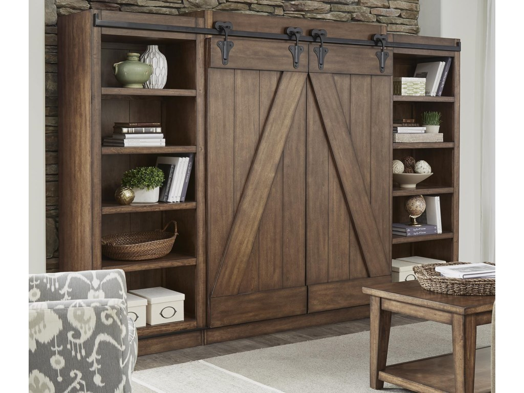 Willow Creek Entertainment Center With Piers And Sliding Barn Doors