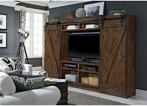 Liberty Furniture Lancaster Entertainment Center with Piers and Sliding Barn Doors
