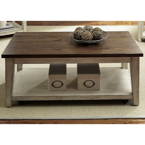 Liberty Furniture Lancaster Rustic Castered Cocktail Table with Light Distressing