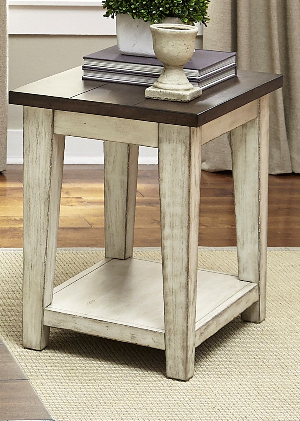 Lancaster rustic end table with light distressing by liberty furniture