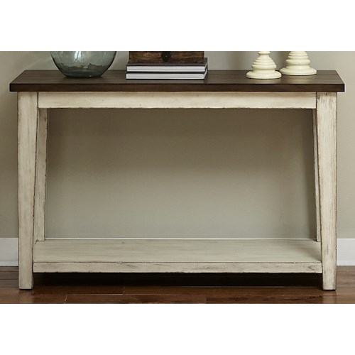 Liberty Furniture Lancaster Rustic Sofa Table with Light Distressing