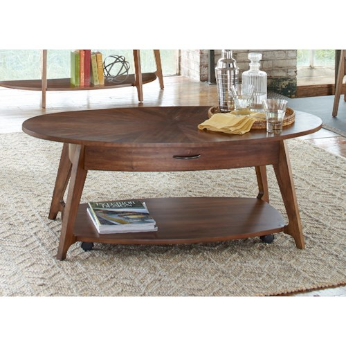 Liberty Furniture Landon Occasional Oval Cocktail Table with Casters