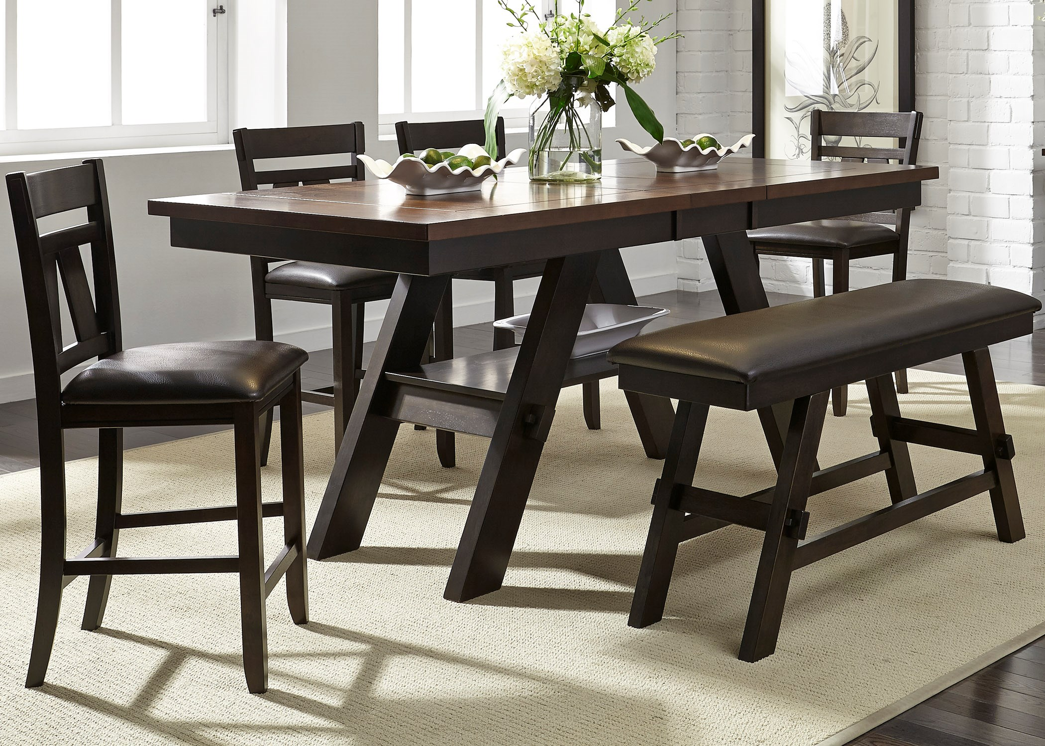 Picture of: Liberty Furniture Lawson 6 Piece Gathering Table Set Wayside Furniture Table Chair Set With Bench