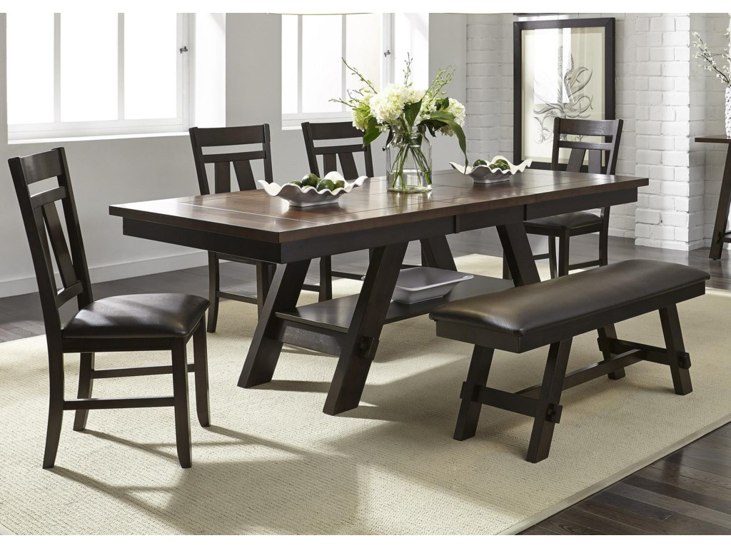 Liberty Furniture Lawson 6 Piece Rectangular Table Set Royal Furniture Table Chair Set With Bench