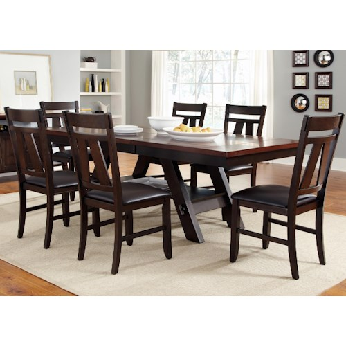 Liberty Furniture Lawson 7 Piece Rectangular Trestle Table and Splat Back Chairs Set
