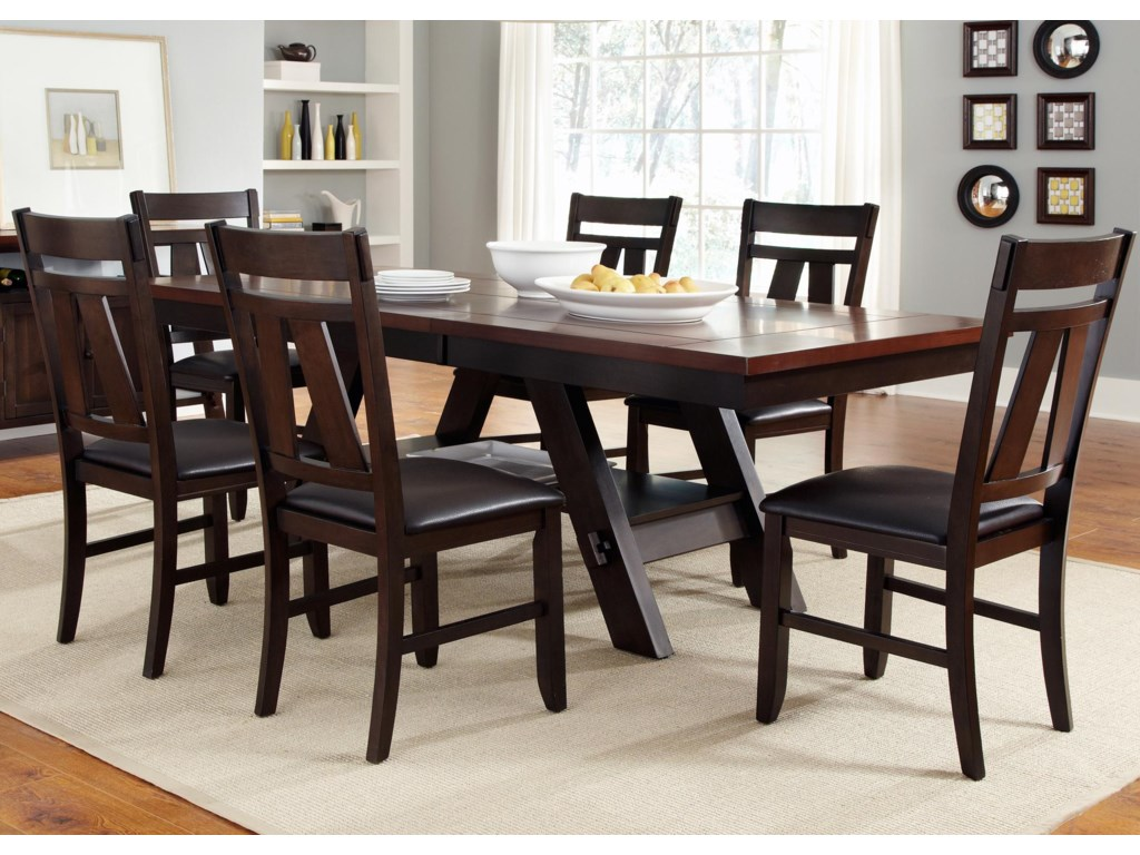 Liberty Furniture Lawson 9 Piece Rectangular Trestle Table and ...