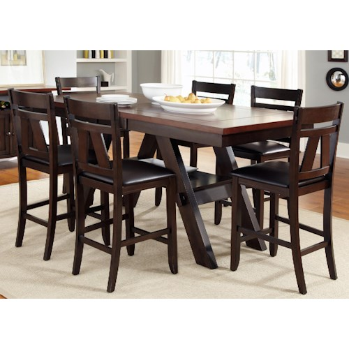 Liberty Furniture Lawson 7 Piece Trestle Gathering Table with Counter Height Chairs Set