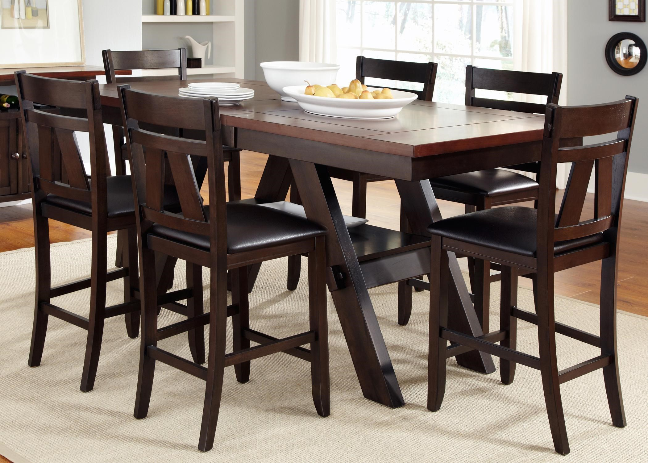 Vendor 5349 LawsonGathering Table with Counter Height Chairs & Vendor 5349 Lawson 7 Piece Trestle Gathering Table with Counter ...