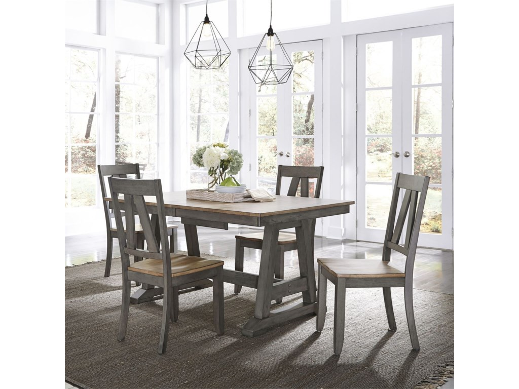 Liberty Furniture Lindsey Farm5-Piece Trestle Table Set